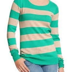 Old Navy Crew Neck Green Stripe Sweater L